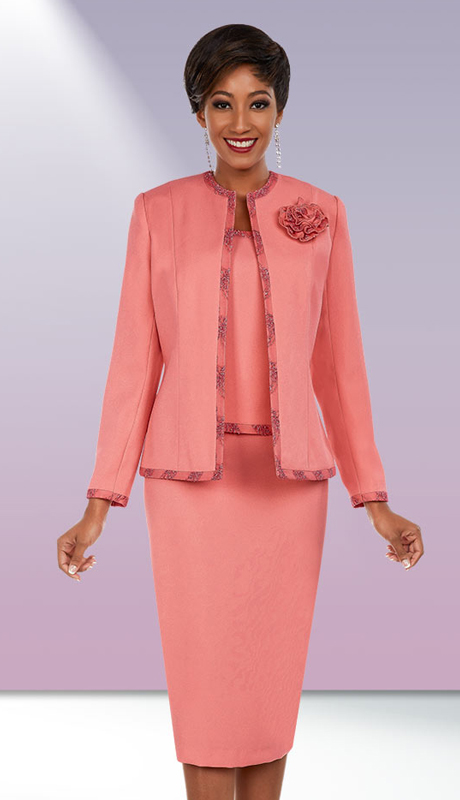 Ben Marc Executive 11673 ( 3pc Womens Career Suit With Pattern Trim Jacket & Fabric Flower )