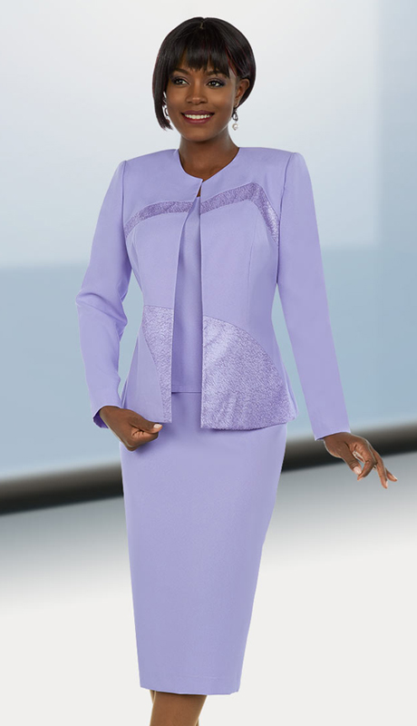 Ben Marc Executive 11672 ( 3pc Skirt Suit With Brocade Style Insets On Jacket )