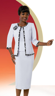Ben Marc Executive 11670 ( 3pc Skirt Suit For Church With Pattern Trim Jacket & Fabric Flower )