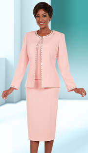 Ben Marc Executive 11669 ( 3pc Womens Business Skirt Suit With Studded Trim Design )