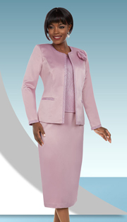 Ben Marc Executive 11667 ( 3pc Ladies Skirt Suit With Contrasting Trim & Fabric Flower On Jacket )