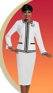 Ben Marc Executive 11665 ( 2pc Ladies Pant Suit With Double Stripe Trimmed Jacket )