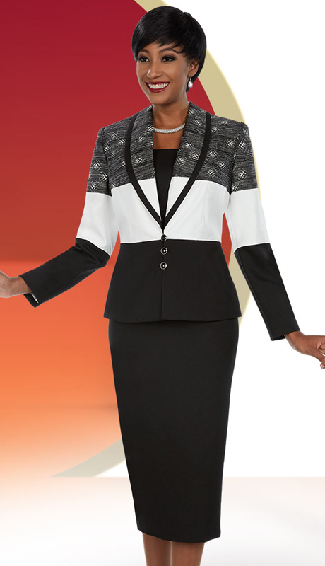 Ben Marc Executive 11663 ( 3pc Womens Skirt Suit With Shawl Lapel Multi Color Jacket )