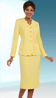 Ben Marc Executive 11662 ( 2pc Sunday Skirt Suit With Scallop Trimmed Jacket )