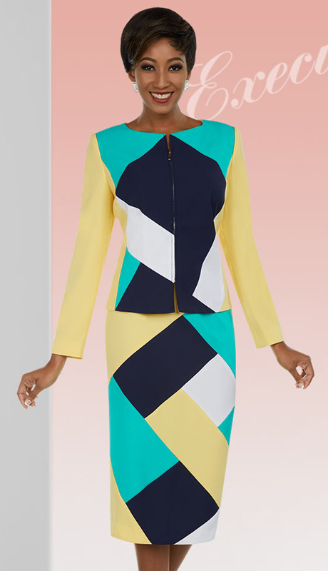 Ben Marc Executive 11658-IH-BM ( 2pc Multi Color Block Skirt Suit For Church )