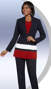 Ben Marc Executive 11657 ( 3pc Womens Tri-Color Pant Suit With Notch Lapel Jacket )