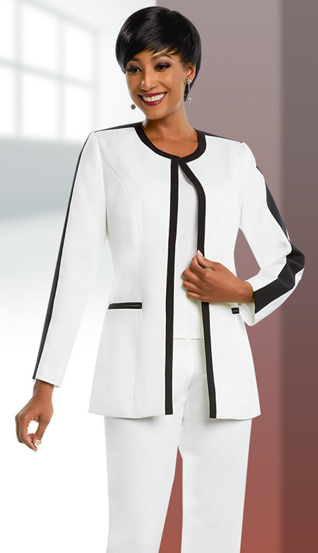 Ben Marc Executive 11655-IH-OWB ( 3pc Womens Pant Suit With Contrasting Trim Design )