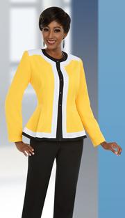 Ben Marc Executive 11654 ( 2pc Multi Color Womens Pant Suit With Peplum Jacket )