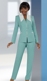 Ben Marc Executive 11653 ( 2pc Womens Pant Suit With Dual Tone Jacket )