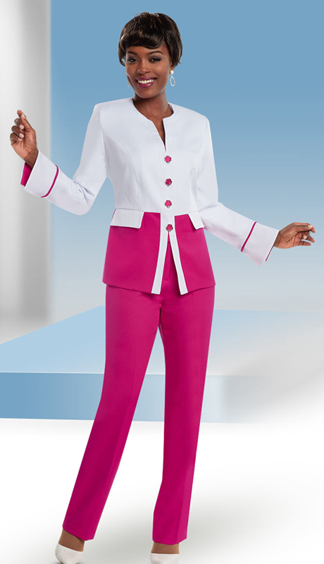 Ben Marc Executive 11652-IH-WF ( 2pc Dual Tone Womens Pant Suit )