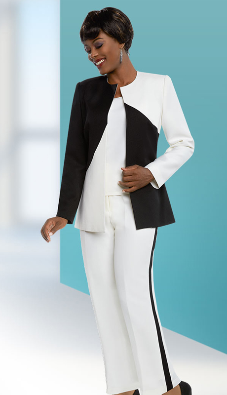 Ben Marc Executive 11650-IH-OWB ( 3pc Womens Business Pant Suit With Dual Tone Style Design )