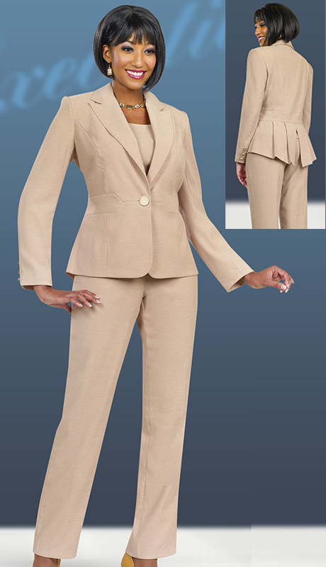 Ben Marc Executive 11491  ( 3pc Women Church And Career Pant Suit With Peak Lapels & Peplum Jacket )