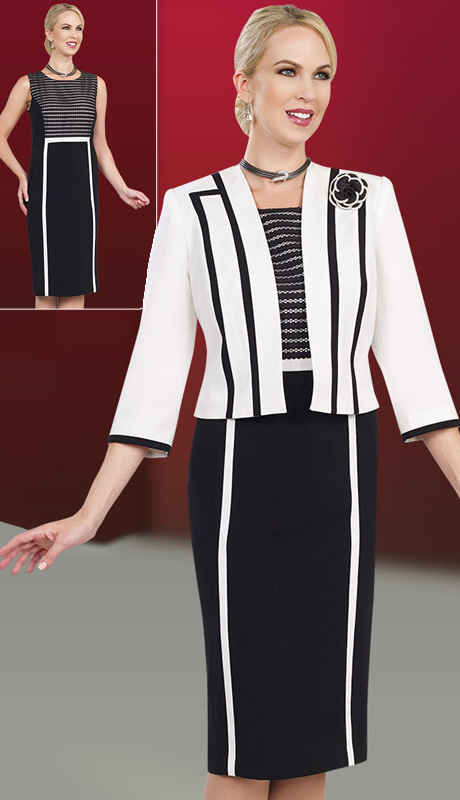 Ben Marc Executive 11567 ( 2pc Ladies Church And Career Dress With Contrast Stripe, Lace Details And Rose Brooch )