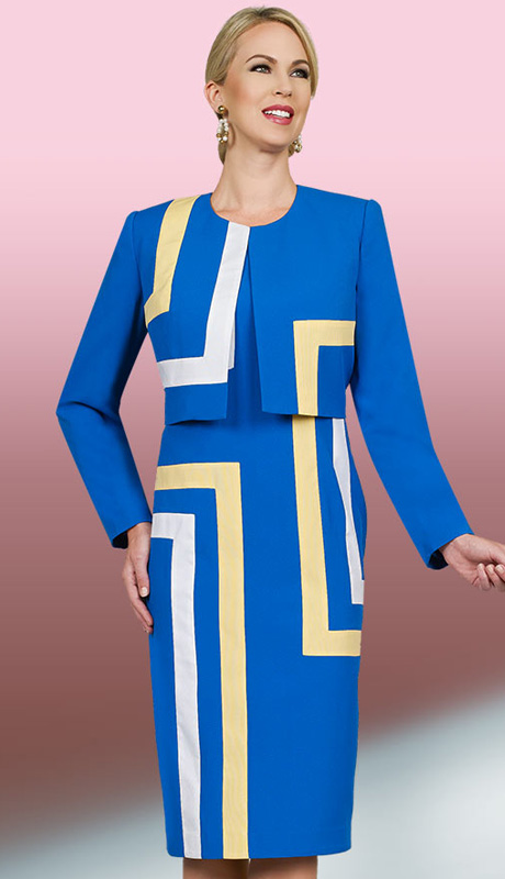 Ben Marc Executive 11570 ( 2pc Ladies Church And Career Dress With Geometric Pattern In Yellow And White )