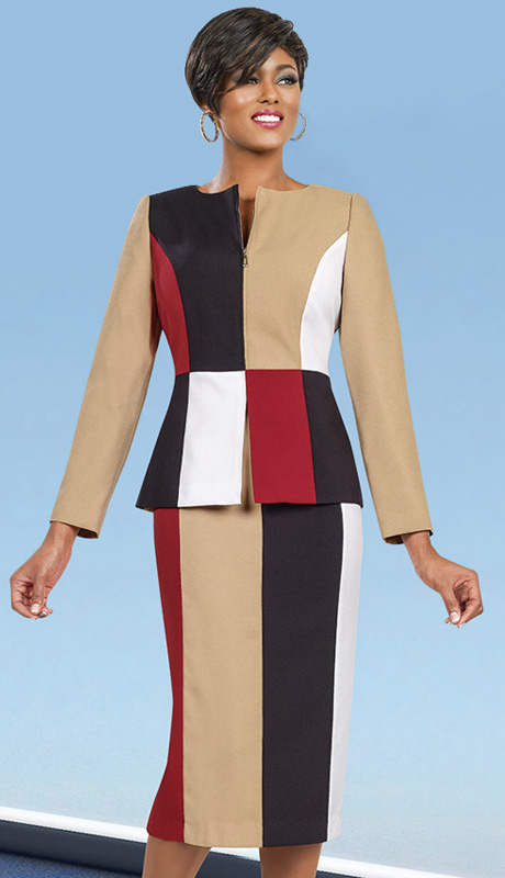 Ben Marc Executive 11496 ( 2pc Women Dress For Church With Color Block Pattern )