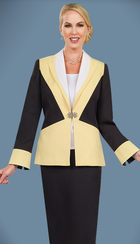 Ben Marc Executive 11499 ( 3pc Ladies Church Dress With Peak Lapels)
