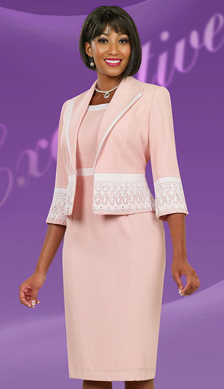 Ben Marc Executive 11523-CO ( 2pc Exclusive Ladies Church Suit With Organza Insets And Rhinestone Trims With Buttons )