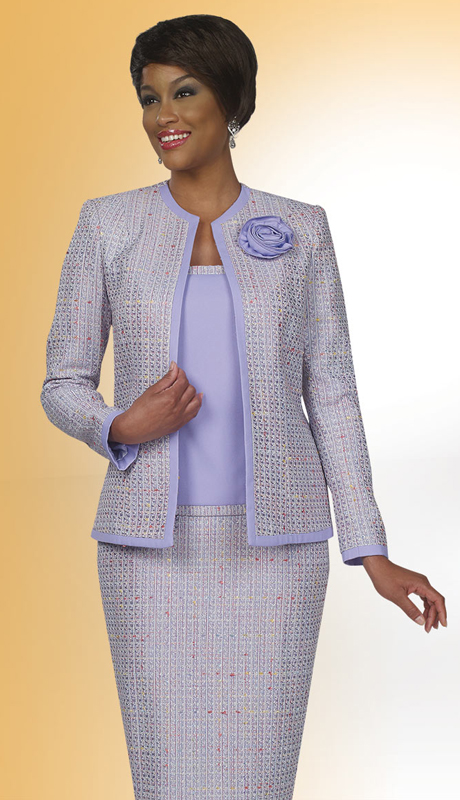 BenMarc Executive 11426 ( 3pc Weave Pattern Fabric With Rosette Brooch Womens Church And Career Suit )