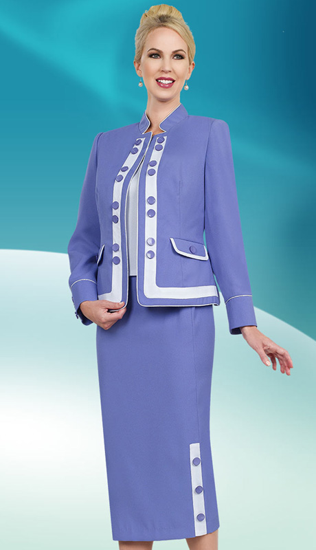 Ben Mar Executive 11427 ( 3pc Church And Career Ladies Suit With Button Details And White Stripe Accented Jacket, Skirt And Cami )