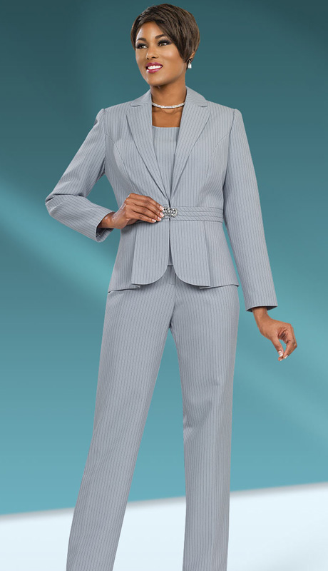 Ben Marc Executive 11533 ( 2pc Ladies Career Suit With Pin Stripe, Pleated Jacket And Rhinetsone Clasp )