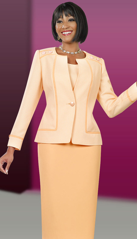 Ben Marc Executive 11536 ( 3pc Womens Church And Career Suit With Checkered Pattern And Buutton Accents On Jacket With Cami And Skirt )