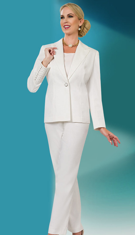 Ben Marc Executive 11534 ( 3pc Career Pant Suit With Single Button, Lace Detail Sleeve Jacket With Cami )