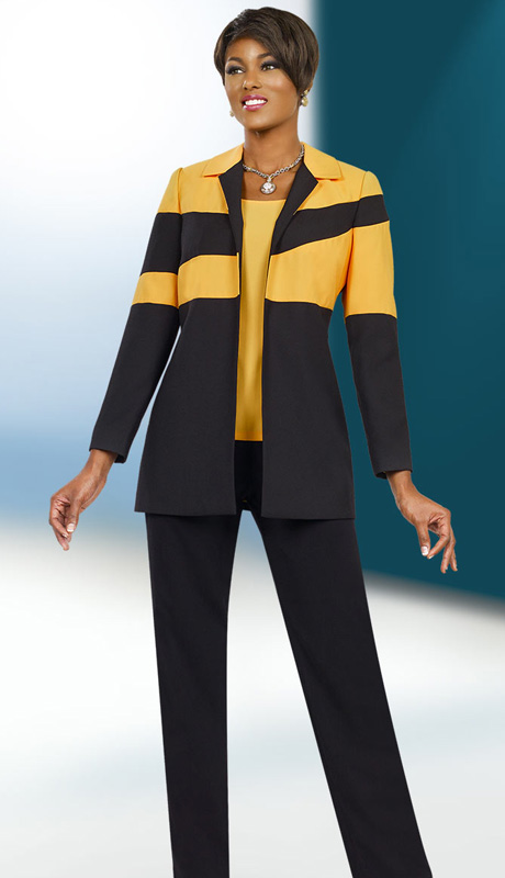 Ben Marc Executive 11535 ( 3pc Ladies Career Suit With Asymetric Stripe On Jacket With Gold Cami And Black Pant )