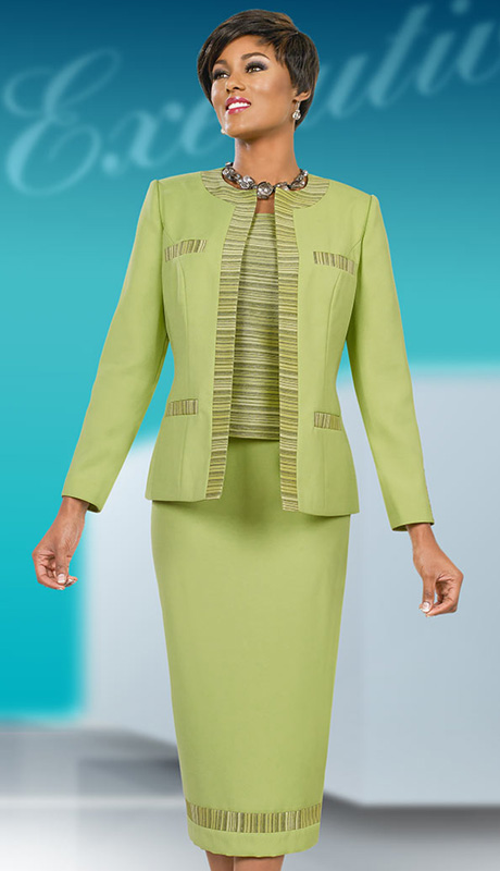 Ben Marc Executive 11538 ( 3pc Womens Church And Career Suit With Tonal Stripe Details On Jacket, Cami And Skirt )