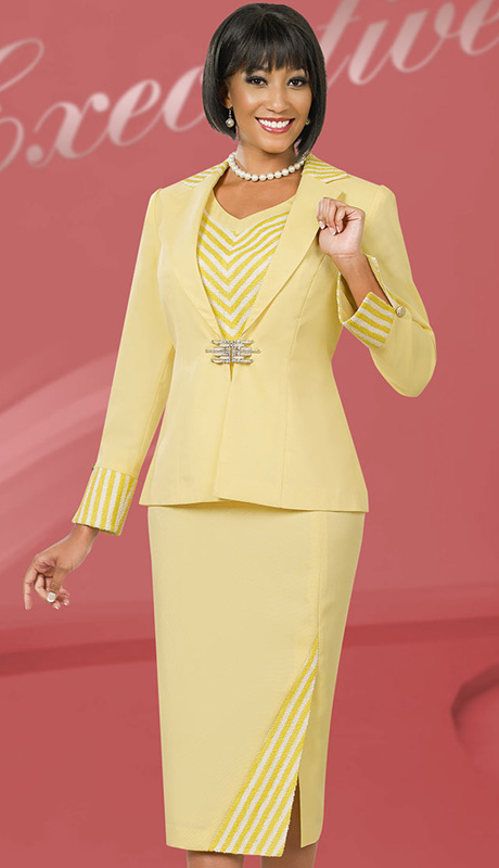 Ben Marc Executive 11540 ( 3pc Ladies Suit For Church And Career With Chevron Stripe V-Neck Cami, Rhinetsone Clasp On Jacket With Skirt )