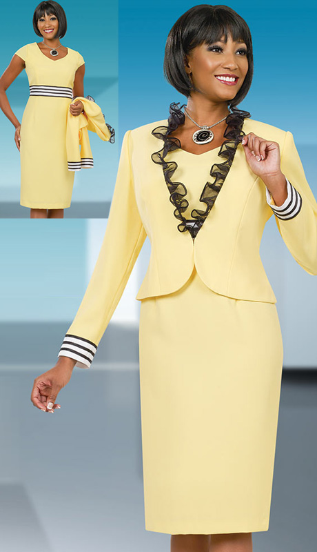Ben Marc Executive 11543 ( 2pc  Ladies Church And Career Dress With Black Ruffle Trim On Jacket, Black And White Stripe Cuff And V-Neck Dress With Cap Sleeve )