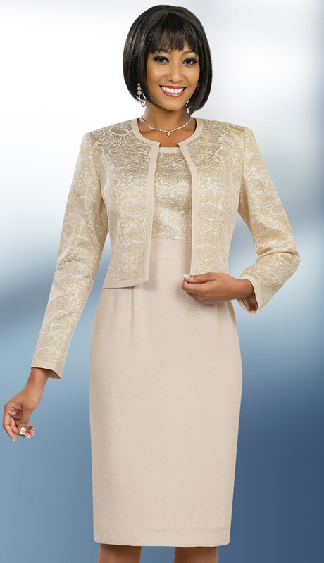 Ben Marc Executive 11550 ( 2pc Ladies Church And Career Dress With Metallic Paisley Pattern Jacket )