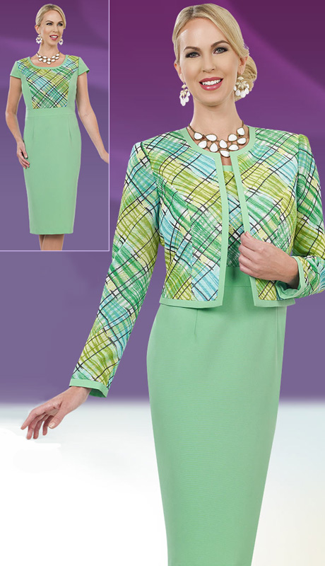 Ben Marc Executive 11552 ( 2pc Womens Church And Career Dresses With Painterly Plaid In Green Hues On Jacket And Top Portion Of Dress )