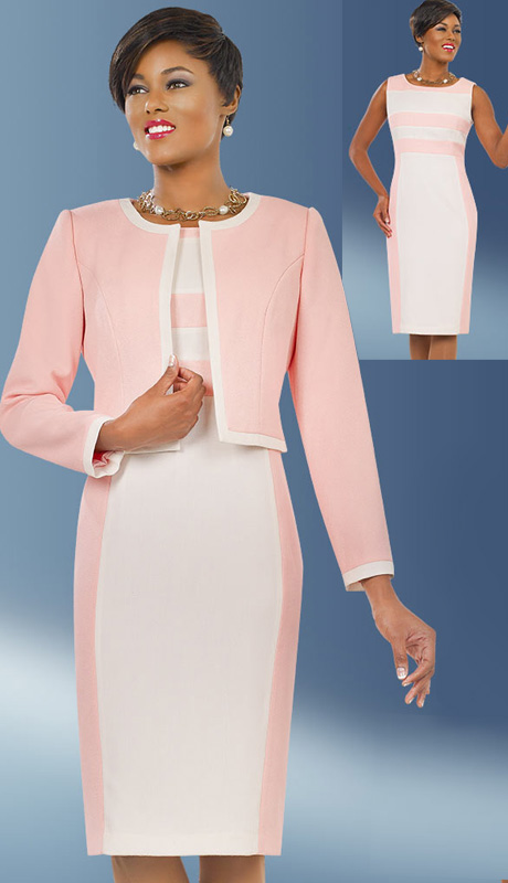 Ben Marc Executive 11556 ( 2pc Ladies Stripe Pattern Dress With Solid Jacket And Off-White Trim For Church And Career )