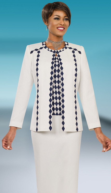 Ben Marc Executive 11554 ( 3pc Womens Suit For Church And Career With Diamond Pattern On Cami And Trim Of Jacket, With Skirt )