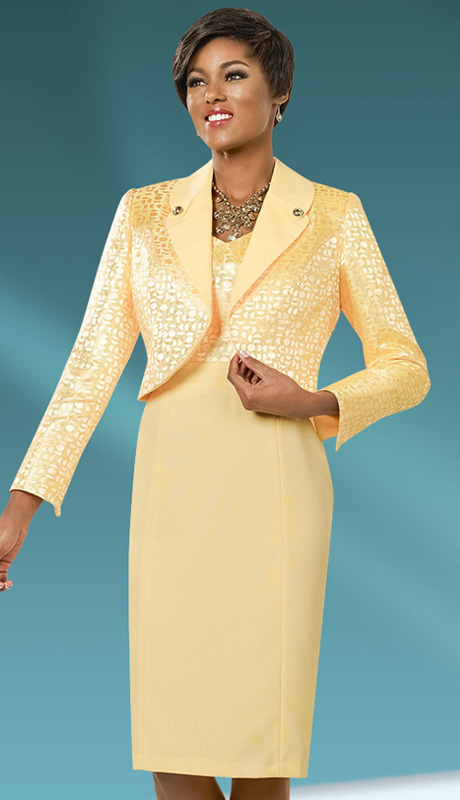 Ben Marc Executive 11555 ( 2pc Womens Career And Church Dress With Geometric Pattern On Jacket And Button Embellishment On Collar )