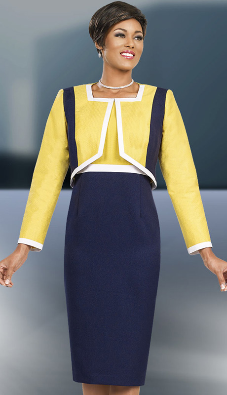 Ben Marc Executive 11558 ( 2pc Womens Suit For Church And Career With Yellow And Navy Jacket And White Trim )