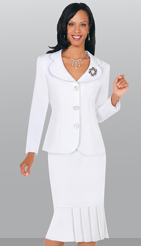 SA78095-WHT-CO ( 2pc  usher suit in peachskin, rhinestone button closure and brooch on jacket with pleated detail skirt )