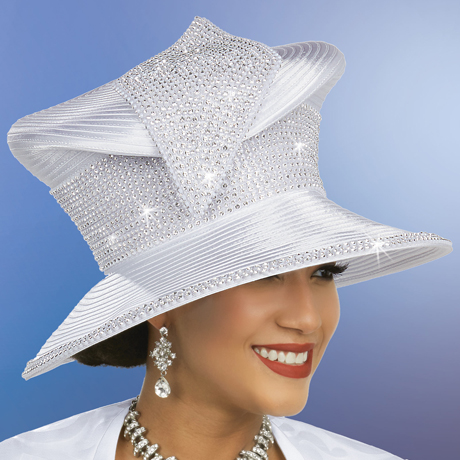 Ben Marc 48246-WH ( Womens Rhinestone Adorned Satin Braided Hat )