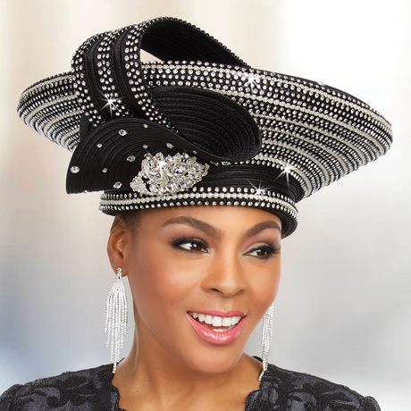 Ben Marc 48230-BK ( Satin Braided Fabric Hat With Rhinestone Embellishments )