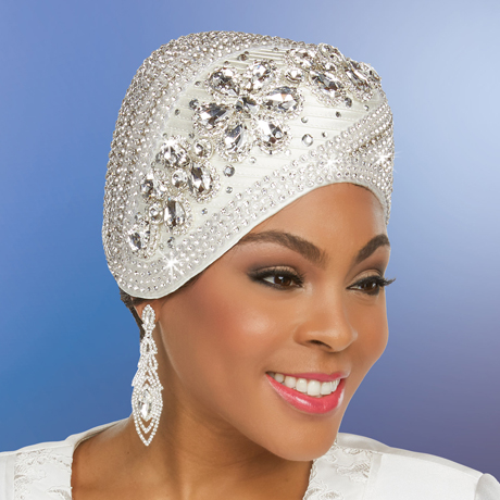 Ben Marc 48247-OW ( Womens Rhinestone Adorned Satin Braided Hat )