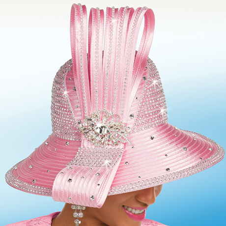 Ben Marc 48244-PI ( Satin Ladies Embellished Hat With Bow )