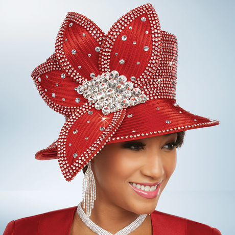 Ben Marc 48243-RE ( Ladies Church Hat With Rhinestones )