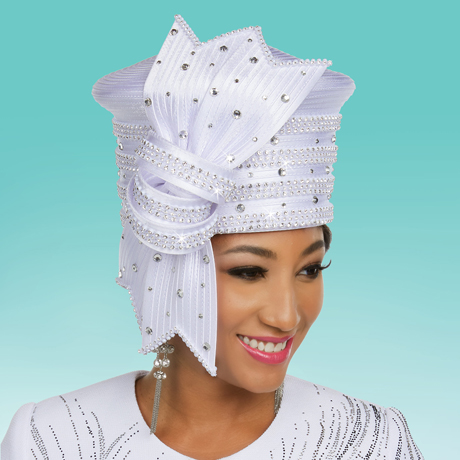Ben Marc 48239-WH ( Satin Braided Fabric Womens Embellished Church Hat )