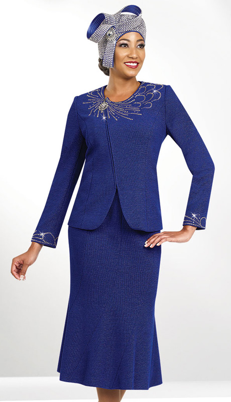 Ben Marc 47957 ( 2pc Exclusive Knit Ladies Church Suit With Rhinestone Embellishment )
