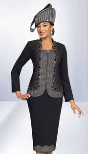 Ben Marc 47959 ( 2pc Exclusive Knit Ladies Church Suits With Rhinestones Details On Jacket )