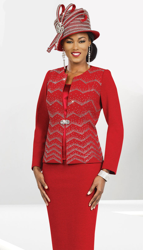 Ben Marc 47960 ( 3pc Exclusive Knit Women Church Suit With Chevron Patttern Jacket )