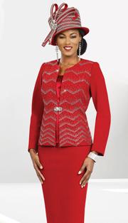 Ben Marc 47960 ( 3pc Exclusive Knit Women Church Suit With Chevron Patttern Jacket )