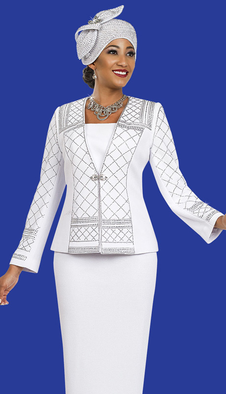 Ben Marc 47962 ( 2pc Exclusive Knit Designer Women Suit With Rhinestones Details On Jacket )