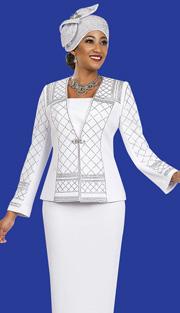 Ben Marc 47962 ( 2pc Exclusive Knit Designer Women Suit With Rhinestones Details On Jacket )