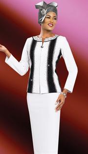Ben Marc 47963 ( 2pc Exclusive Knit Ladies Church Suit With Rhinestones Embellishments )